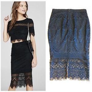 EUC Express Knit Lace Fringe Midi Pencil Skirt sz2